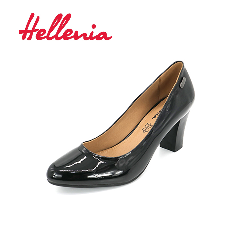 Hellenia shoes pump mid heels fashion office ladies pointed toe shallow black PU letaher lining Hot sale sexy Patent shoelaces рюкзак case logic 17 3 prevailer black prev217blk mid