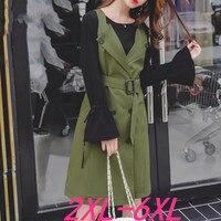 2019 autumn plus size women casual slim long sleeve knit false two pieces dress green woman large size dresses 3XL 4XL 5XL 6XL