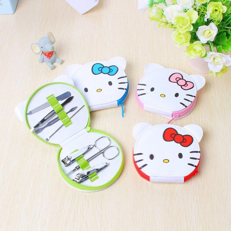Olá Kitty portátil cortador de Unhas Dos Desenhos Animados Set Pedicure Tesoura Pinça Faca Ear Escolher Utility Manicure Set Ferramentas