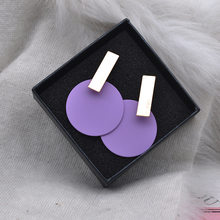 Korean Earrings Minimalist Jewelry Women Simple Round Circle Big Large Metal Sheet Purple Blue Pink Geometric Earring Moda Mujer(China)