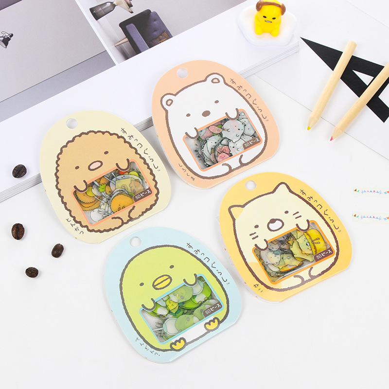 50 Pcs/ Bag DIY Cute Cartoon Kawaii PVC Stickers Lovely Cat Bear Sticker For Diary Decoration Free Shipping