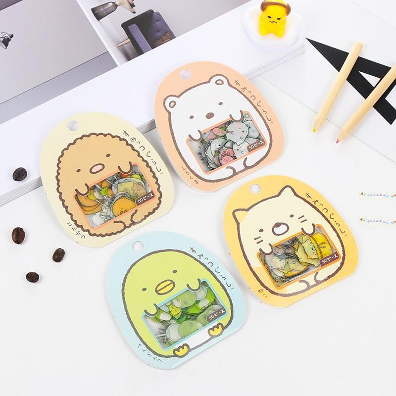 50 Pcs/ Bag DIY Cute Cartoon Kawaii PVC Stickers Lovely Cat Bear Sticker For Diary Decoration Free Shipping