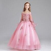 Роскошные платье для девочек цветочные дети Свадебная вечеринка Костюмы Детские наряды принцессы Shoulderless бальное платье с расклешенными ру