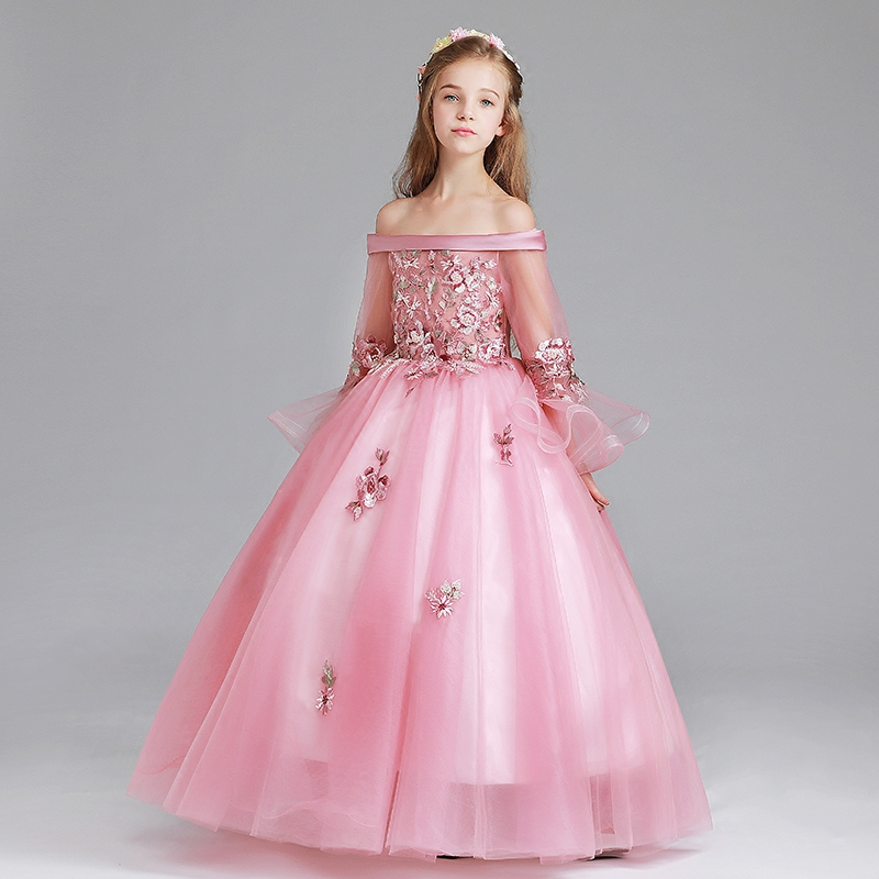 Luxury Girls Dress Floral Kids Wedding Party Clothing Children Princess Dresses Shoulderless Ball Gown Flare Sleeve Dress D35 цена 2017