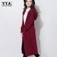 2019 Spring New Arrival Fashion Womens Casual Cardigan Knitting Coat Long Sweater Single Button Woolen Overcoat Plus Size