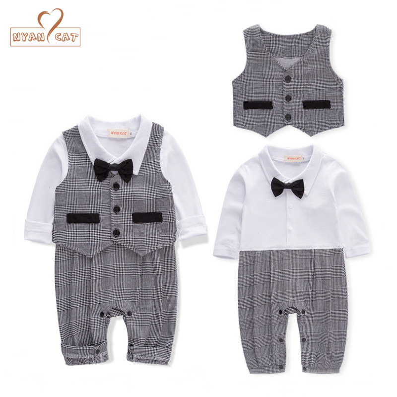 Nyan Cat Baby boy clothes gentlemen bow tie white plaid spring full sleeves romper+vest 2pcs set wedding party birthday costume