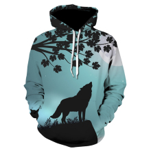 Animal Sweatshirts Male Female Hoodies Printed howling Wolf moon tree Unisex Autumn Winter Hoody Fashion Hooded Coat Hot Sale