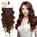 Italian Water Wave Clips In Hair Extensions Wave Clip In Human Hair Virgin Peruvian Body Wave Clip In Human Hair Extensions