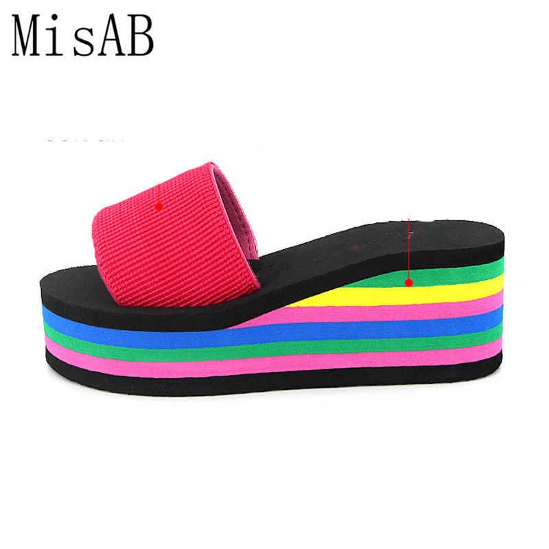 2017 Women sandals slippers new summer fashion rainbow leopard muffin sandals home shoes wedge heels beach sandals ALF134 taoffen women shoes women sandals wedge heels platform summer shoes leopard slip on slippers trend fashion shoes plus size 33 43