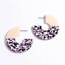 Round Geometric Earrings For Women Colorful Print Acid Acrylic Hoop Designer Earring Elegant Jewelry Gifts