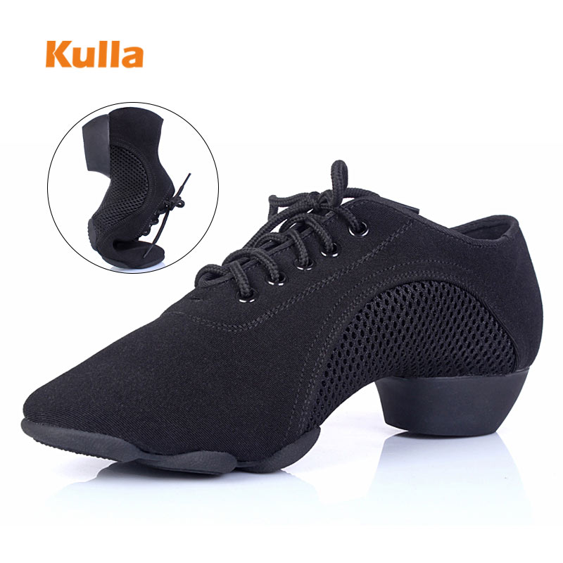 Salsa Dance Shoes Women Latin Ballroom Dancing Shoes Ladies Soft Mesh Breathable Middle Heels Black Red Female Fitness Yoga Shoe