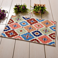 European Style Flowers Carpet Painted Living Room Bedroom Rug Square Non Slip Mats