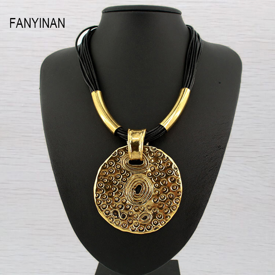 JIANXI Simple Round totem Necklaces & Pendants For Women jewelry fashion brand ethnic short chain sport stone shain luna chiao fashion ins popular round natural stone fan fringed cotton tassel necklaces pendants for women