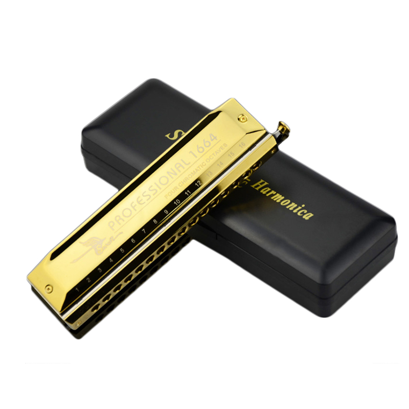Swan 16 Holes 64 Tones C Tone Chromatic Harmonica Professional Instrumentos swan chromatic harmonica 16 hole 64tune golden professional harp instrumentos chromatic square mouthpiece thicken the cover