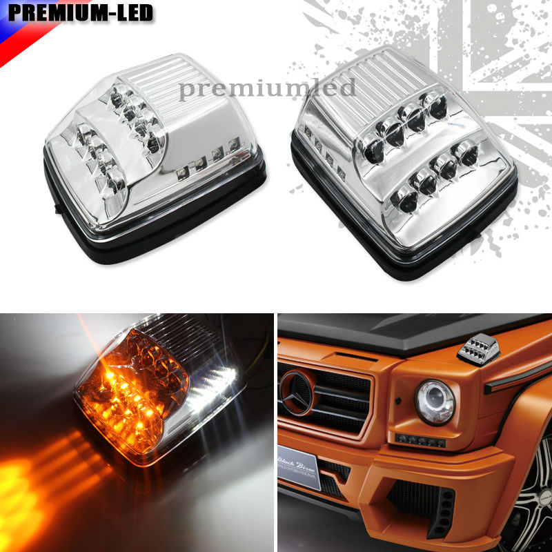2pcs Clear Lens Amber LED Turn Signal Lamps w/ White LED For Mercedes 1990-2016 W463 G-Class G500 G550 G55 G63 AMG. 1990 2013 year for mercedes benz w463 g400 g500 g55 led turn lights tw