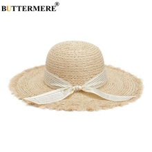 BUTTERMERE Raffia Straw Hat Women Sun Female Letter Print Ribbon Bow 2019 Spring Summer Elegant Ladies Beach Hats For