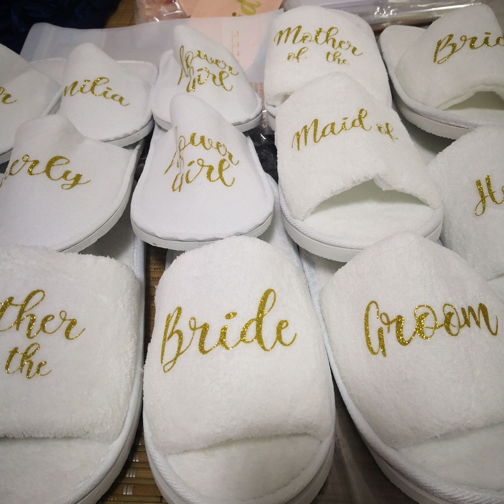 best supplier speical offer classic US $9.32 25% OFF|Wedding slippers Personalised bridal party slippers Open  Toes spa hen weekend shoes quality coral fleece bridesmaid slippers-in  Shoes ...