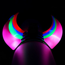 2017  Woman Princess Girls Middle Devil Horn Headband Light LED Flashing Birthday Event Party Wedding Headwear Halloween