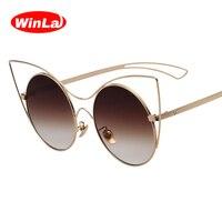 Winla Fashion Sunglasses Women Cat Eyes Sunglasses Vintage Shades Hollow Alloy Frame Glasses Luxury Famous Brand