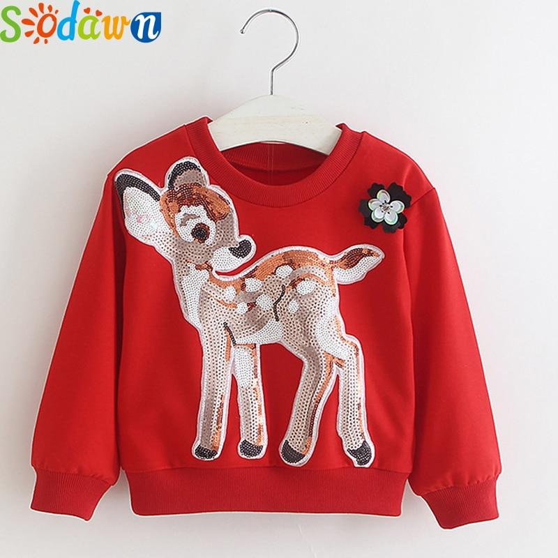 Sodawn 2017 Autumn Winter New Fashion Sequin Cartoon Cotton Sweater Long Sleeve T Shirt Baby Girls