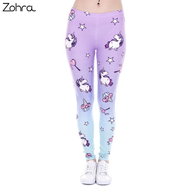 Zohra Ventas Calientes Mujer Legging Legins Punky Unicornio Impresion Y Dulces Mujeres de Cintura Alta Leggings