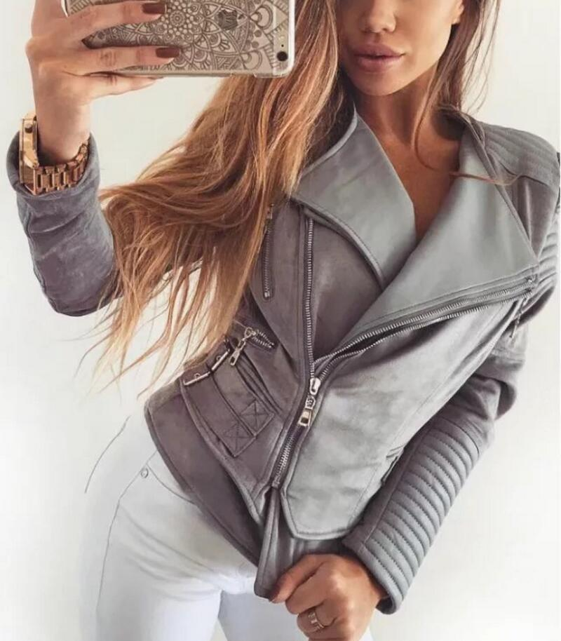 JOYINPARTY Gray Zipper Suede Faux Leather   Jacket   Women Autumn Winter Black   Basic     Jackets   Casual Outwear Slim Coat 2017
