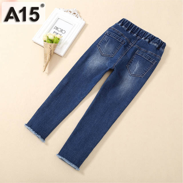 77e856fdc Online Shop A15 Girls Jeans Pants 2018 Spring Autumn Kids Denim Jeans for  Girls Teenagers Children Ripped Skinny Jeans Leggings 8 10 12 Year
