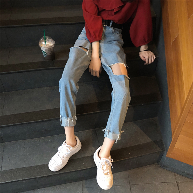 Mihoshop Ulzzang Korean Korea Women Fashion Clothing 2018 New Summer Hole Punk Cool High Waist Straight   Jeans   Denim Pants