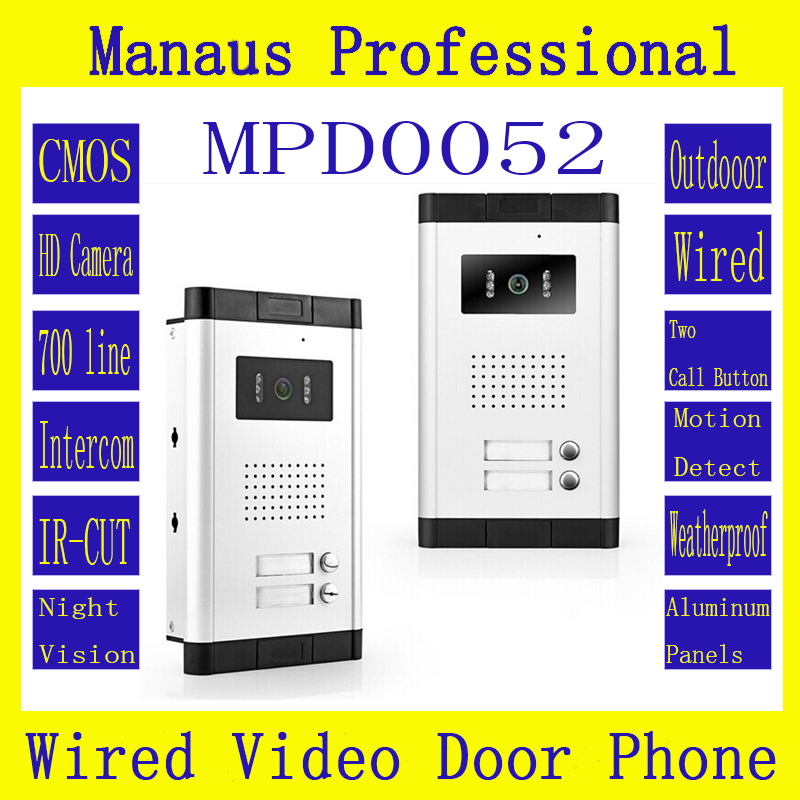 Two Buttons Wired Video Doorphone Outdoor Monitor,Multi-storey Residential Buildings With Straight-touch Intercom D52b