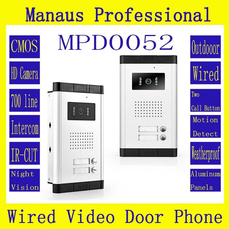 Güvenlik ve Koruma'ten Video Interkom'de İki düğmeler Kablolu Video Diyafon Açık Monitör  düz dokunmatik interkom ile Çok katlı konut binaları D52b