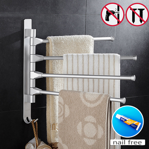 Space Aluminium Towel Rack 5/4/3/2 Arms Towel Hanging with Hooks Bathroom Towel Rack Movable Towel Bars(China)