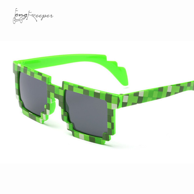 LongKeeper Hot Kids Sunglasses Creeper Glasses Mosaic Sports Goggles Men Women Cycling Glasses Boys Girls Pixel Square Eyewares