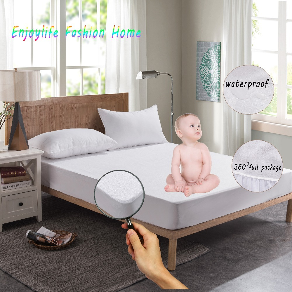 Russian Size 150X200CM Terry Waterproof Mattress Protector Bed Protection Hypoallergenic And Machine Washable Mattress Cover