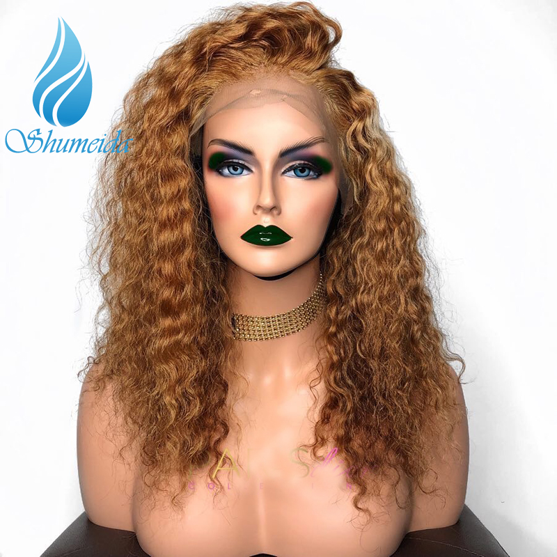 SHD Color Lace Front Wig With Baby Hair Malaysian Jerry Curly Human Hair Wigs For Women Long Remy Hair Wig Pre Plucked Hairline