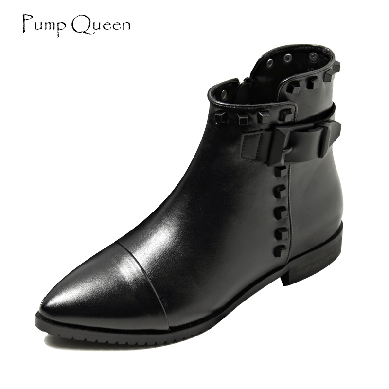 PumpQueen Women Ankle Boots Black Cool Rivet Belt Boots Low Heels Shoes Woman 2018 Spring New Botas Mujer Pointed Toe Size 40