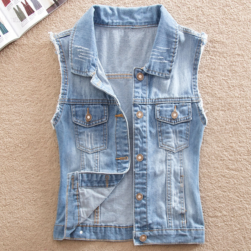 5XL Casual Hole Denim Waistcoat For Women Turn-down Collar Slim Jean Jacket Female Large Size Sleeveless Denim Vest Veste Femme