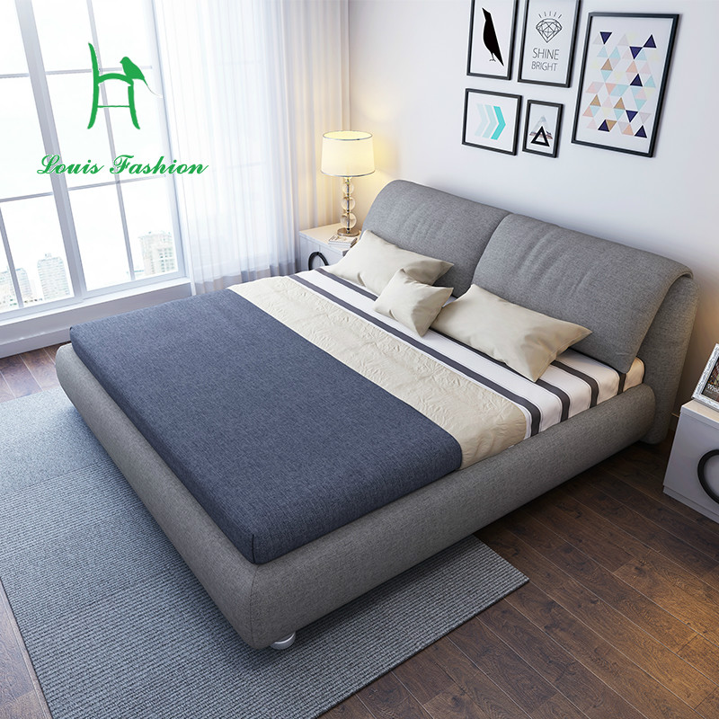 Nordic Tuchkunstsofa Können Unpick Und Waschen Kleine Familie Modell  Schlafzimmer Tuch Bett Pneumatische Lagerung Doppelbett 1