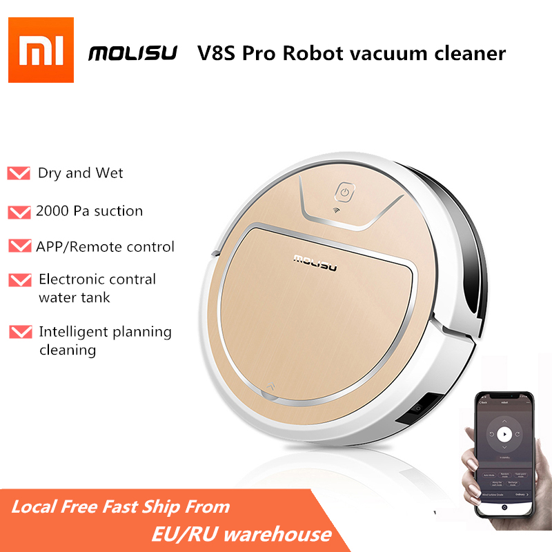 MOLISU V8S Pro Robot Vacuum Cleaner wet and dry Automatic Sweeping Dust Sterilize Smart Planned WIFI App Remote Control