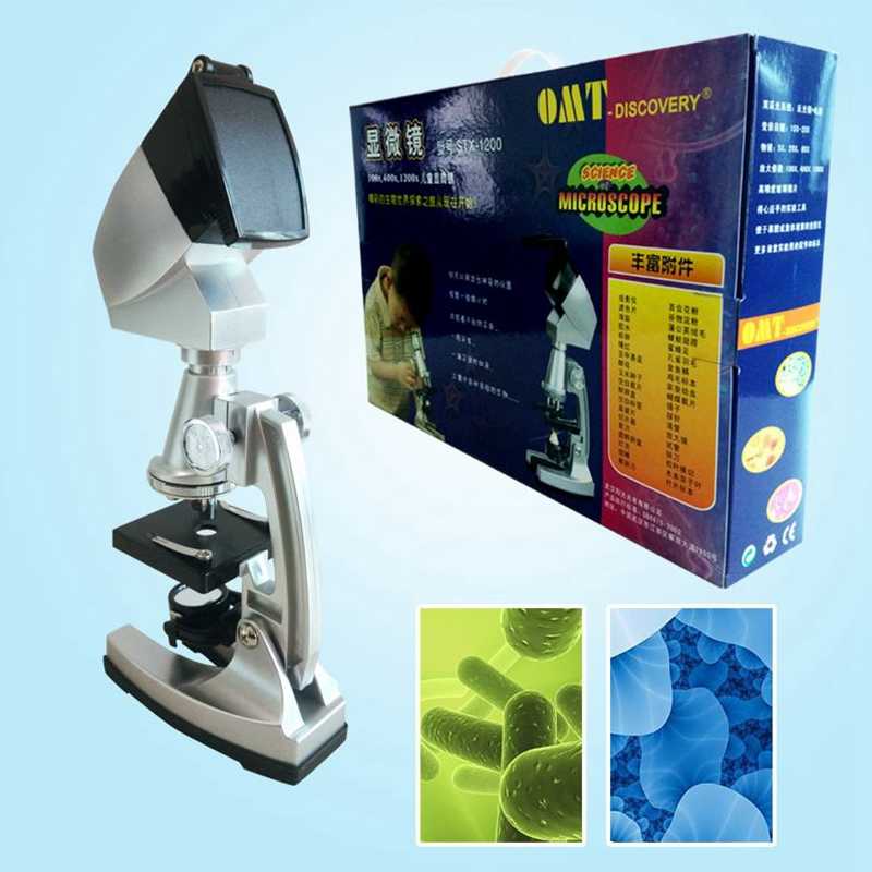 1200x Educational Microscope with Configure Projector LED Light Source and Accessories as Gifts Toys and Learning Tools for Kids 60pc green led microscope light source stereo microscope ring light lamp with adapter 220v or 110v