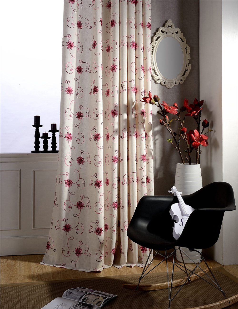 Red Embroidered Drapes Polyester cotton Fabrics Floral Curtains <font><b>Decoration</b></font> <font><b>home</b></font> Pastoral <font><b>Elegant</b></font> Living room curtains B16199-1