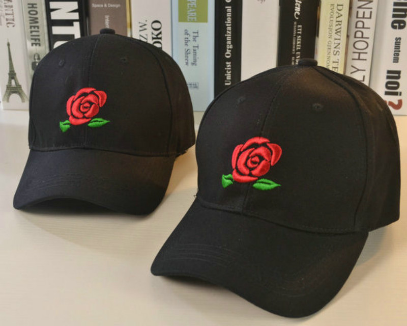Fashion Summer women Black baseball Cap with Embroidered flower female Sport Hat Cap Snapback Sport female peaked cap