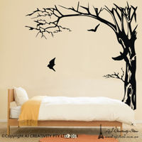 Free Shipping Large Black Trees and birds Wall Stickers Decal Removable Art Home Mural Viny