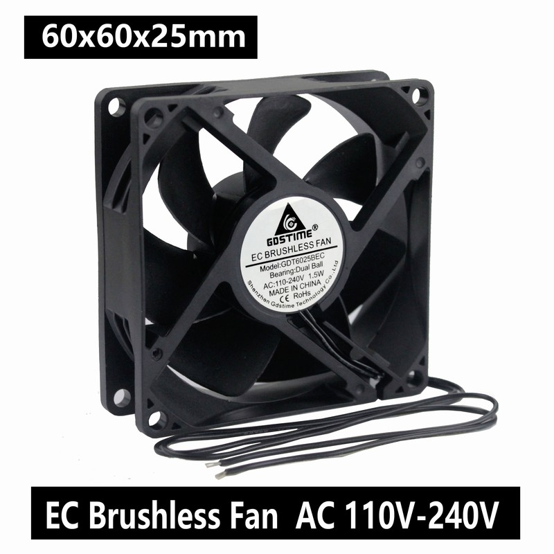 1pcs Gdstime Ball 60mm Ec Fan 60x25mm 6cm Ac 110v 115v 120v 220v 240v Fan 1.5w Axial Cooling Cooler Fan