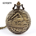 Men Train Quartz Pocket Watch Vintage Retro Long Necklace Chain Women Pocket fob Watches Relogio De Bolso