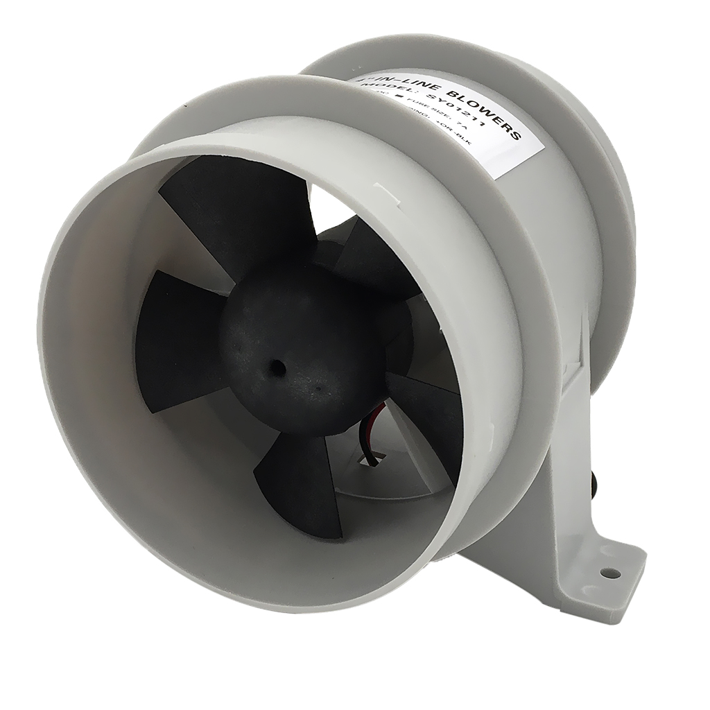 12V 40A ABS Quiet Blower Water Resistant 4 Inch Diameter High Air Flow In-Line Blower Marine Bilge Boat Blower Motor