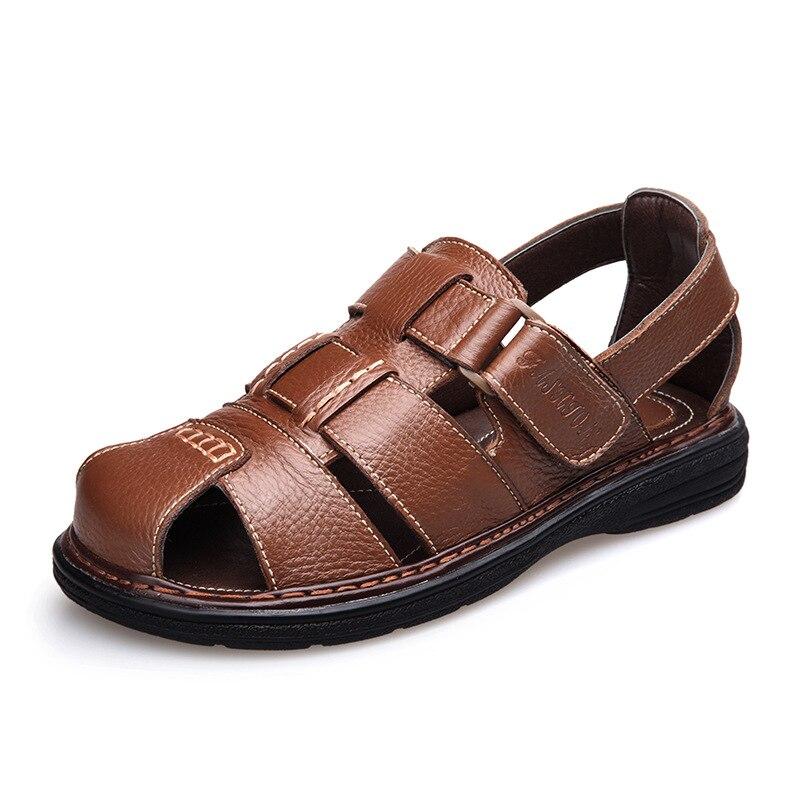 Hommes De Fond 2018 Sandales brown Summer En Chaussures Casual Black Massage Plage Pantoufles New Non slip Mou Tongs brown black Ddi Cuir 0wq54Fx
