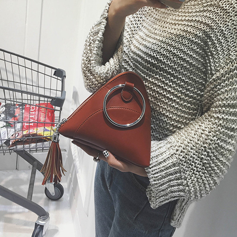 Bag 2018 dumplings package women's handbag mini tassel bag triangle women messenger bags PU