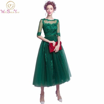 100% Real Image Hunter Green Women Evening Dresses Lace with Bow Half Sleeves Beaded Party Prom Latest Gown Designs