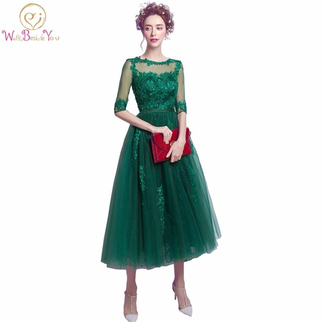 100% Real Image Hunter Green Women Evening Dresses Lace with Bow Half Sleeves Beaded Party Prom Latest Evening Gown Designs