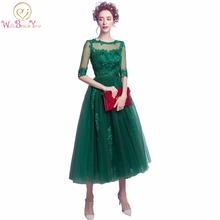 100% real imagem caçador verde mulheres vestidos da noite renda com arco meia mangas frisado festa de baile mais recente vestido de noite design